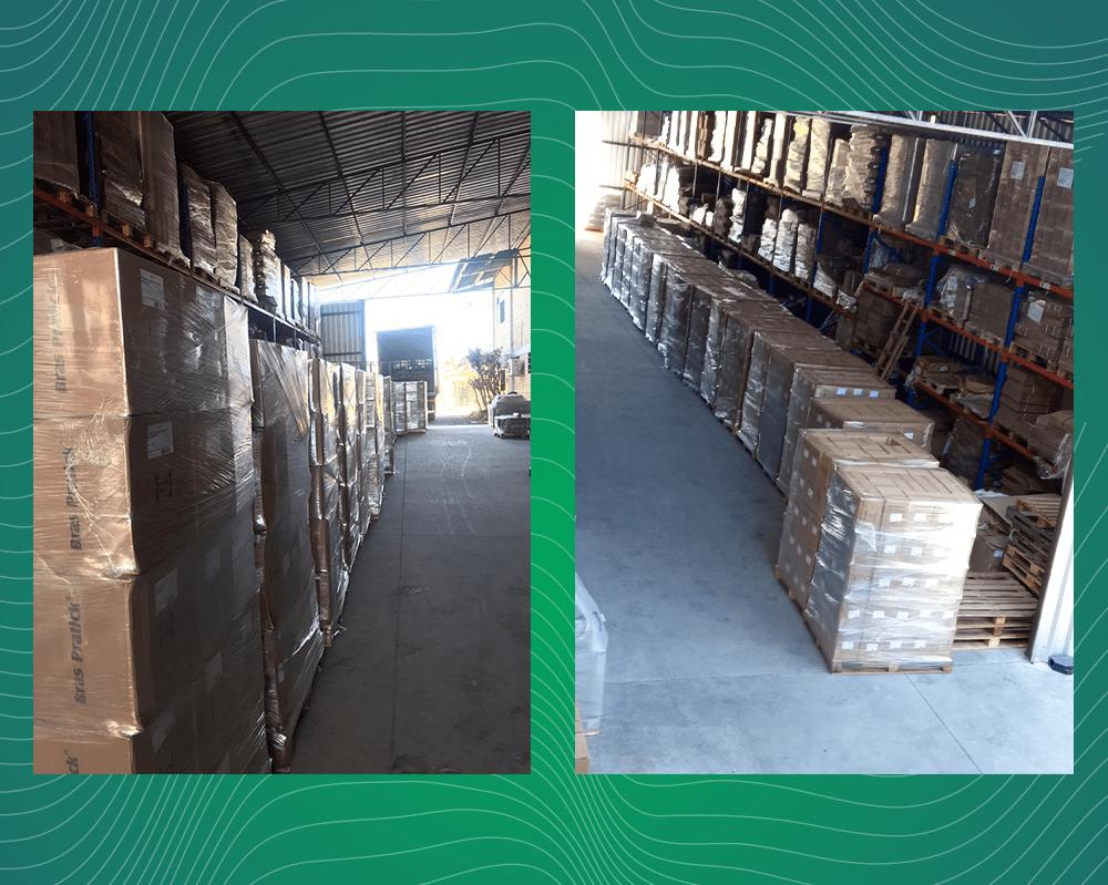 A imagem contém fundo verde e duas fotos mostrando um galpão com com várias caixas da Brasil Sul Embalagens.