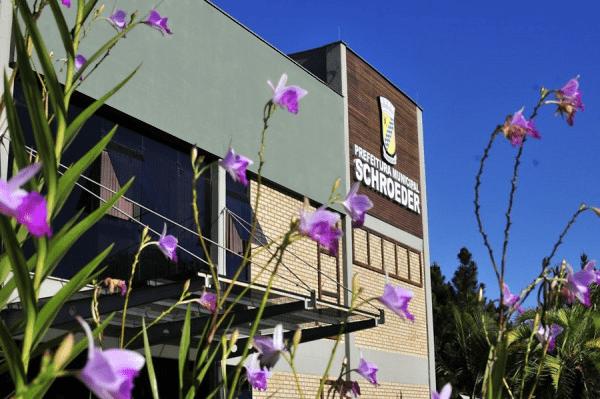 Na foto aparecem flores roxas, a fachada da prefeitura de Schroeder e céu azul.