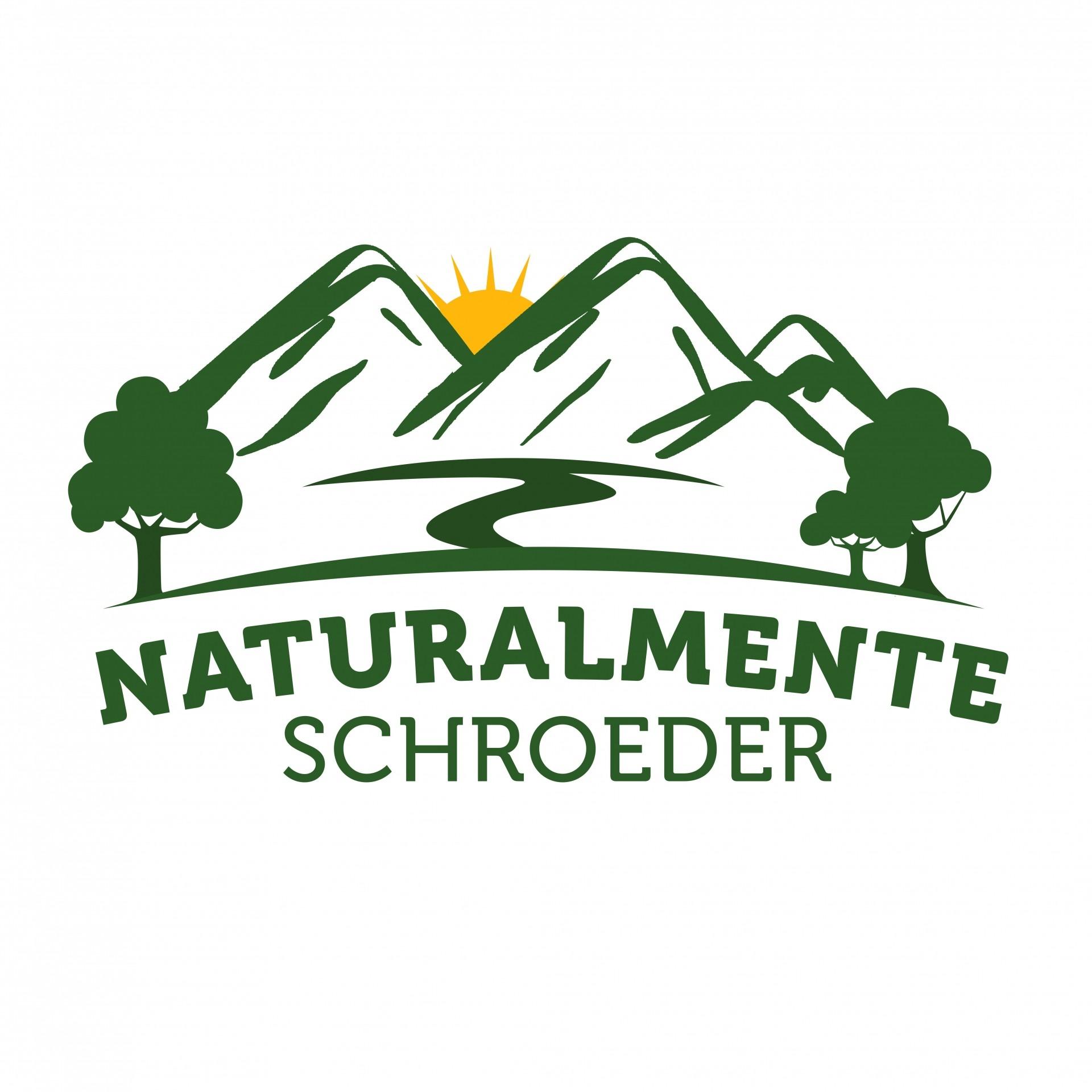 A imagem contém fundo branco e o desenho de montanhas, sol e duas árvores, com os dizeres NATURALMENTE SCHROEDER. A marca foi criada para evidenciar as belezas da cidade que fez 56 anos.